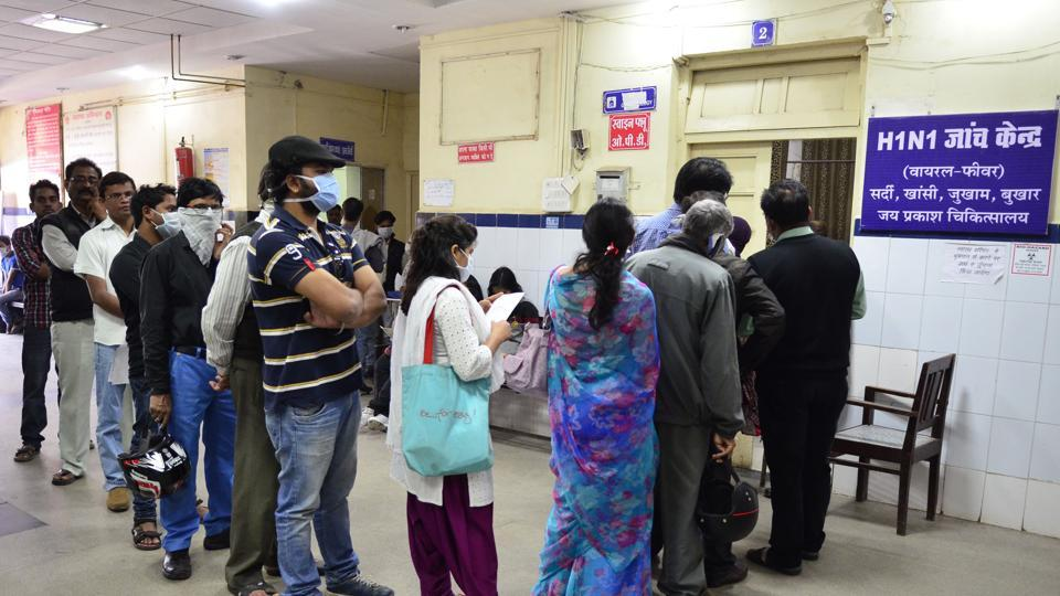 An H1N1 testing centre in Bhopal. The country is seeing an alarming rise in the number of swine flu cases, as deaths have more than doubled and cases have increased sevenfold in the first six months of 2017 compared to the total infections and deaths last year.