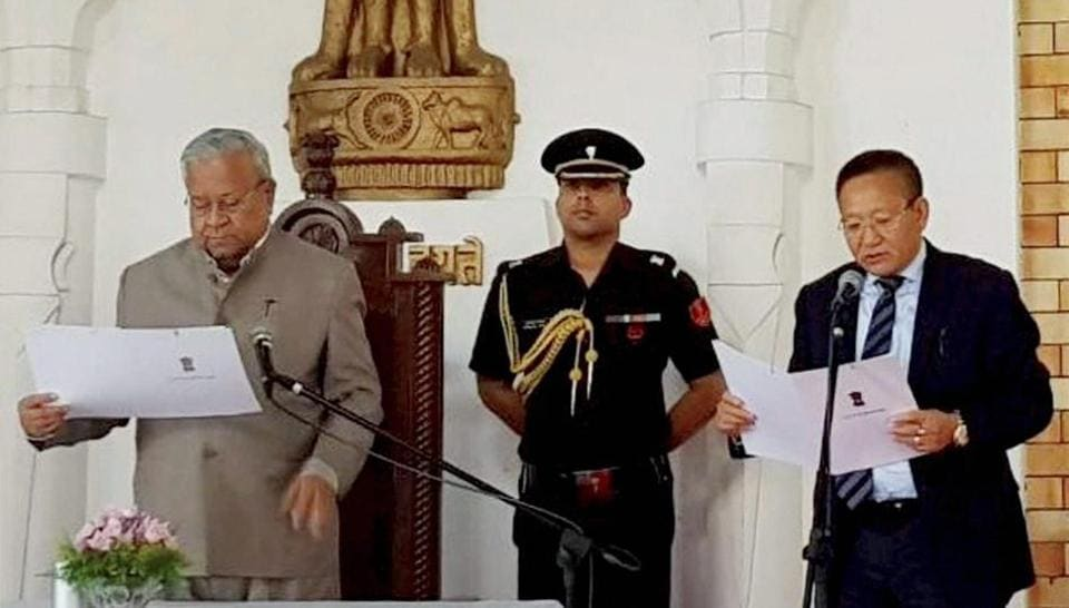 TR Zeliang was sworn-in as the new chief minister of Nagaland by governor PB Acharya at a ceremony in Kohima on July 19.