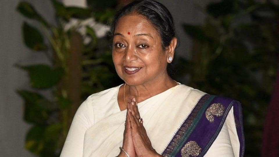 New Delhi: UPA presidential candidate Meira Kumar arrives for the UPA meeting where she was welcomed, in New Delhi on Sunday. PTI Photo by Manvender Vashist (PTI7_16_2017_000250B)