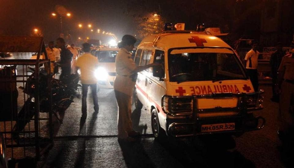 The ambulance was carrying a 45-year-old heart patient who was injured in the mishap and died.