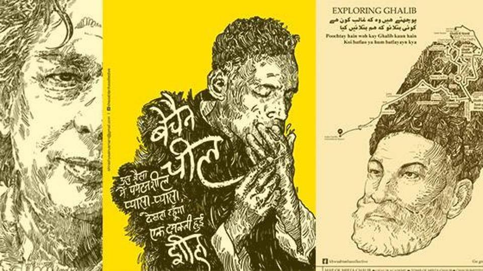 Works by Shiraz Husain, who says he wants to revive Urdu.