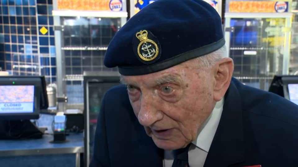 """""""It was just like I was there again,"""" said Ken Sturdy, a signal man with the Royal Navy who was involved in the evacuation at Dunkirk."""