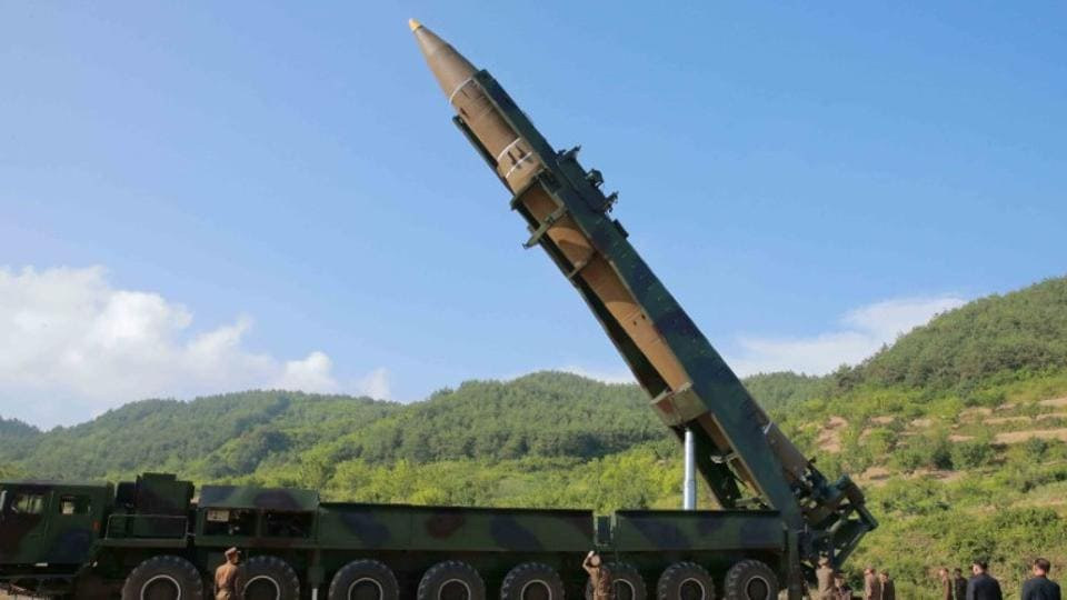 A file photo of the intercontinental ballistic missile Hwasong-14 launched by North Korea in Pyongyang on July 4 which caused global alarm.