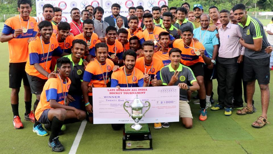 Central Railways pose with the trophy after beating BEG Khadki 2-1 in the hockey finals.