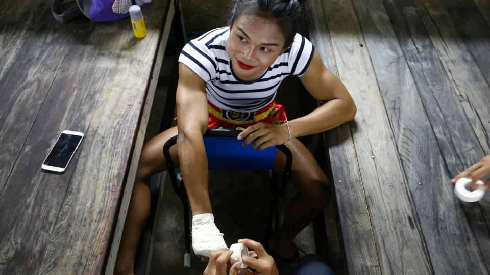 After more than 300 fights, racking up 30 of her 150 wins through knockouts, Rose said she was finally allowed to fight at Rajadamnern Stadium. (Athit Perawongmetha  / REUTERS)
