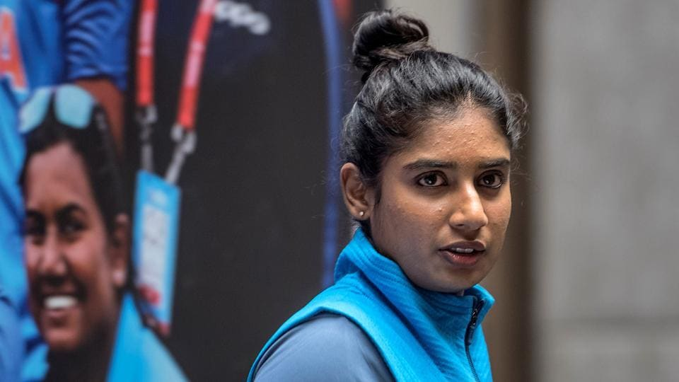Mithali Raj  takes questions from the media. (Satish Bate/HT Photo)