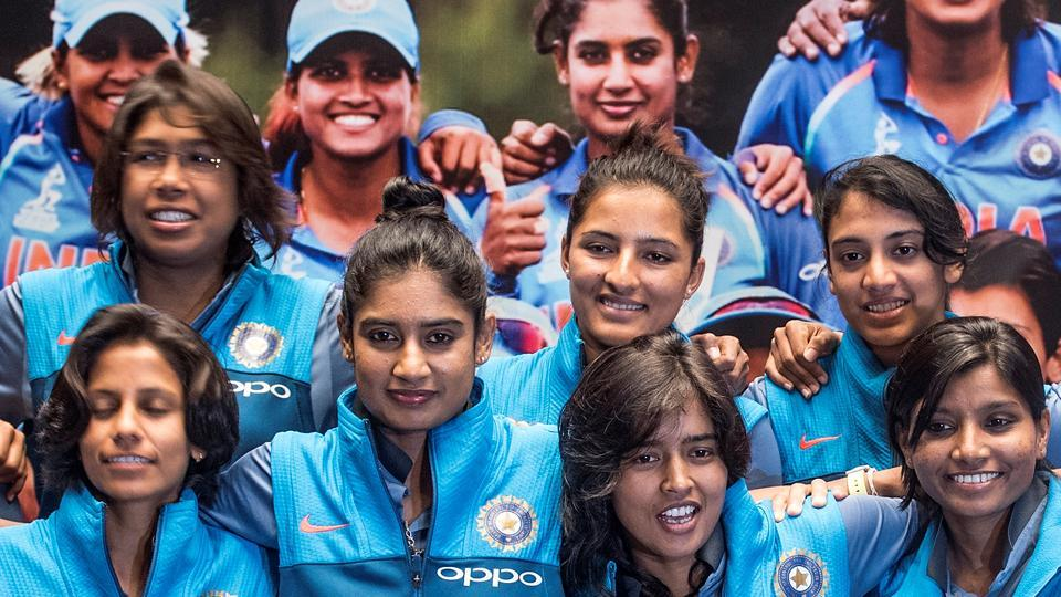 The India women's national cricket pose for a team photo after arriving from a successful World Cup in England at J W Marriott, Mumbai. (Satish Bate/HT Photo)