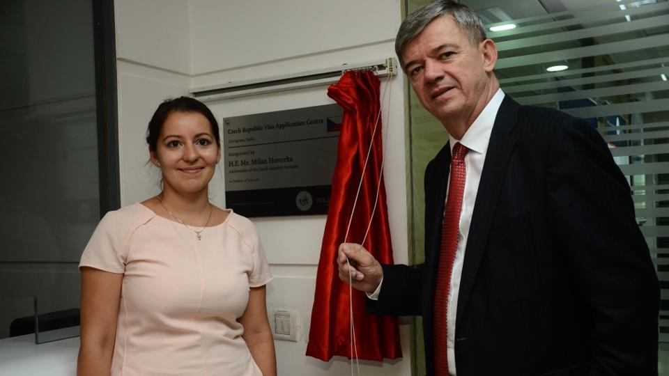 Baharvand Benetková (left), head of Consular and Visa Section, Embassy of the Czech Republic, and Milan Hovorka, Ambassador of the Czech Republic to India, inaugurating the centre in Gurgaon on Wednesday.