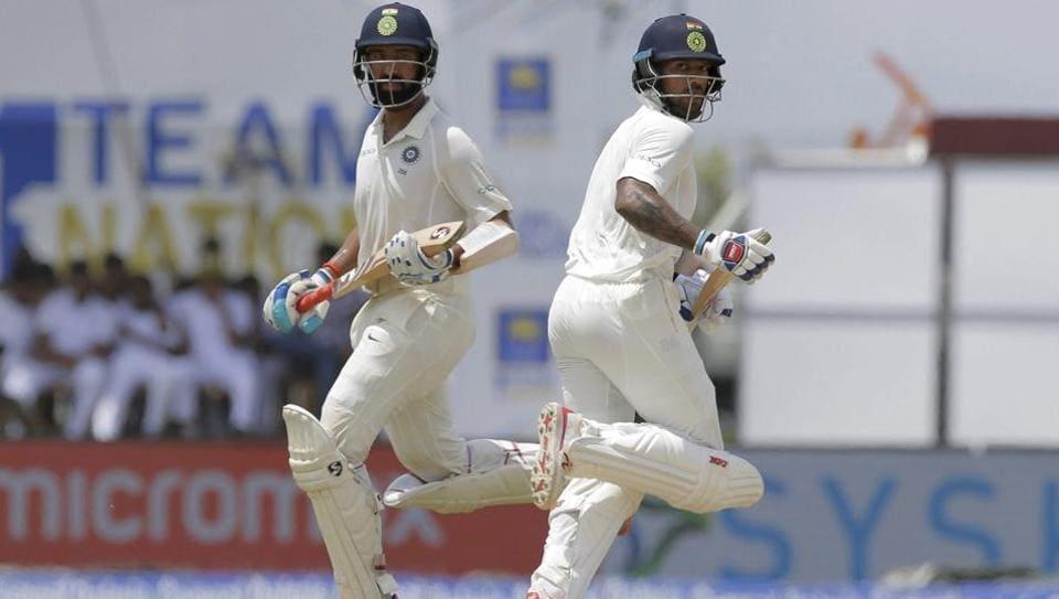 Cheteshwar Pujara and Shikhar Dhawan both scored centuries as India ended Day 1 of the first Test against Sri Lanka at 399/3. Get full cricket score of India vs Sri Lanka here.