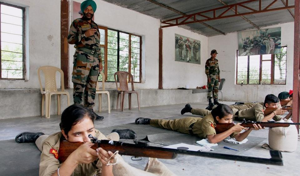 NCC cadets being trained to operate guns at a combined army training camp (CATC) at Nagrota on the outskrits of Jammu. The director general  of NCC has urged northeastern states to select NCC as an elective subject in colleges.