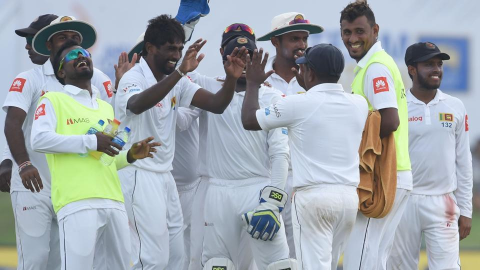 Sri Lankan Nuwan Pradeep (C) was the only bowler to pick up wickets on Wednesday as he scalped three Indians. (AFP)