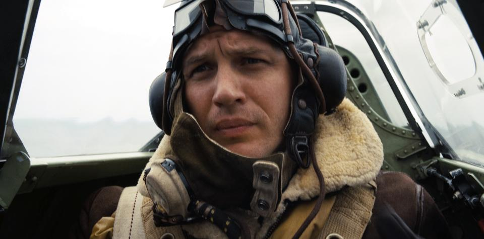 This image released by Warner Bros. Pictures shows Tom Hardy in a scene from Dunkirk.