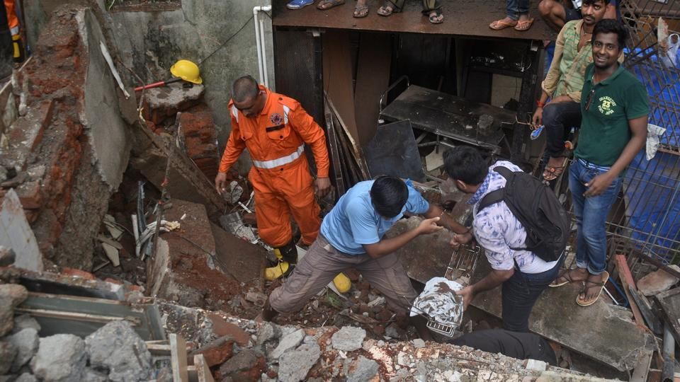 NDRF and fire brigade teams rescue those stuck in the rubble.