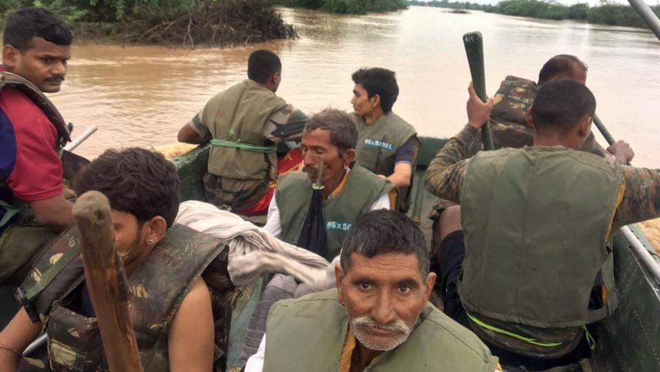 Three Army columns have been deployed in different areas of Jalore where road connectivity has snapped. Two teams of NDRF and SDRF each are also engaged in rescue operations in the flood-affected areas. (HT Photo)