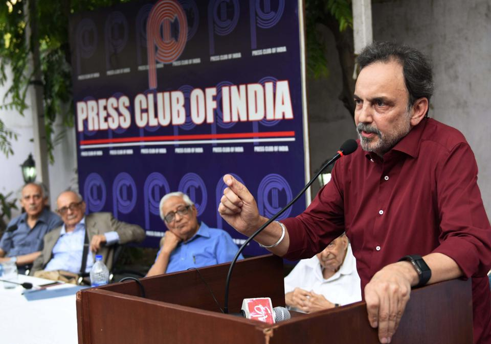 NDTV founder Prannoy Roy addresses a protest meeting at Press Club of India in New Delhi.