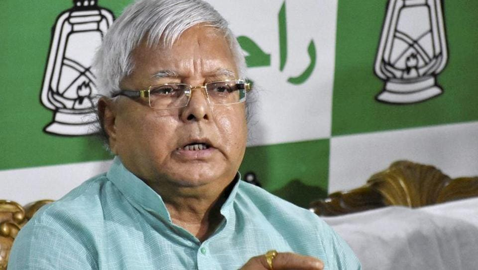 RJD Chief Lalu Prasad addressing a press conference after Nitish Kumar resigned as Bihar chief minister