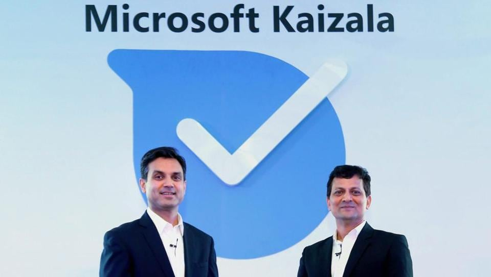 Anant Maheshwari, President, Microsoft India and Rajiv Kumar, Corporate Vice President, Office Product Group, Microsoft India during the launch of Microsoft Kaizala and Kaizala Pro, in New Delhi on Wednesday.