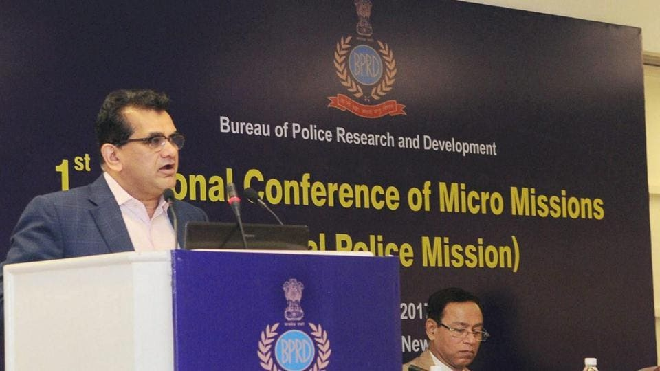 NITI Aayog CEO Amitabh Kant addressing a conference in May 2017.