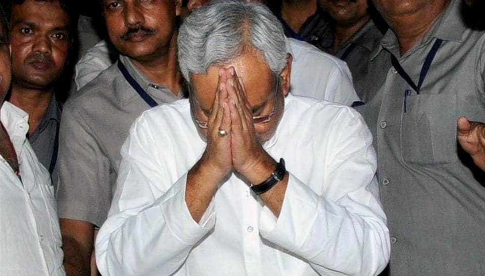 Nitish Kumar after announcing his resignation as Bihar chief minister in Patna on July 26, 2017.