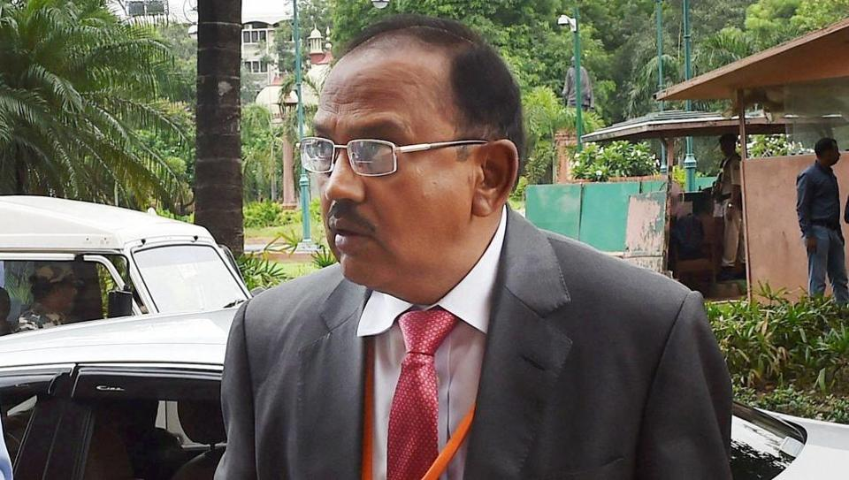 New Delhi: NSA Ajit Doval arrives for attending the swearing-in ceremony of President Ram Nath Kovind at Parliament House in New Delhi on Tuesday. PTI Photo by Kamal Singh(PTI7_25_2017_000162B)