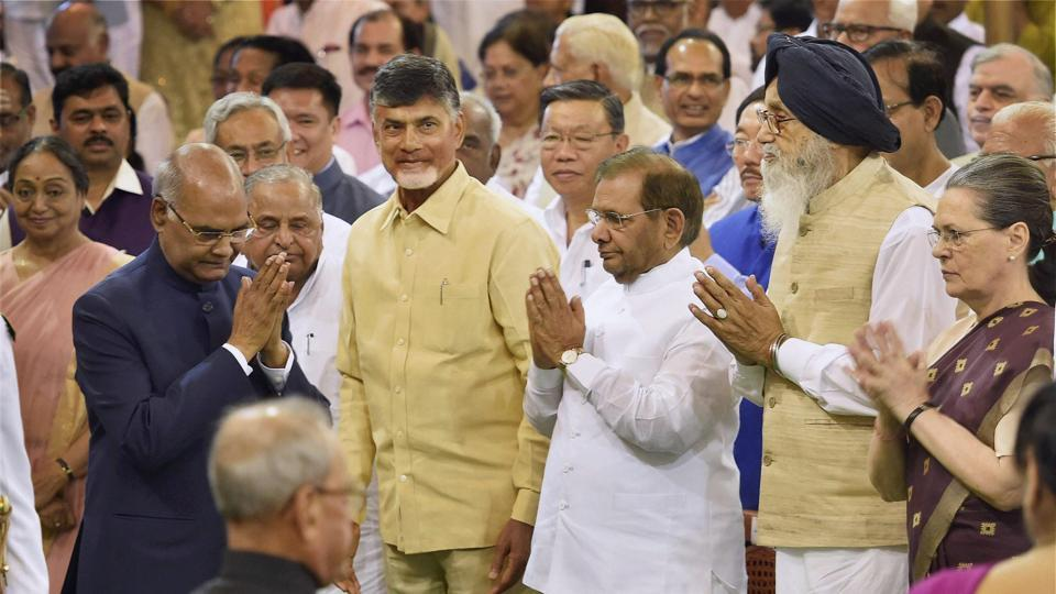 President Ram Nath Kovind greeting dignitaries after taking oath in the Central Hall of Parliament  on Tuesday.
