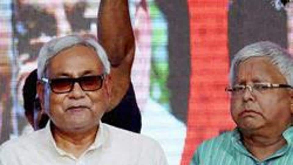 File photo of Bihar chief minister Nitish Kumar and RJD chief Lalu Prasad.during the