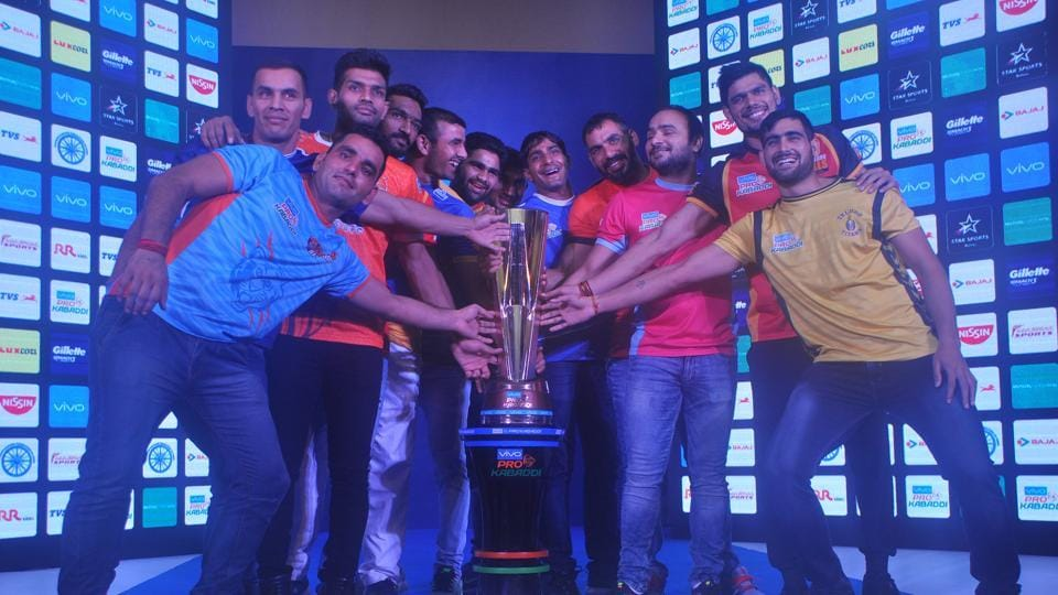 Pro Kabaddi League team captains during the launch of the season 5 on Friday. Telugu Titans will clash with Tamil Thalaivas in season 5 opener