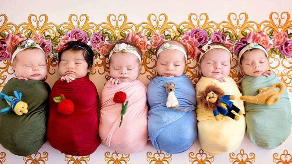 """The photoshoot features six babies portrayed as various Disney characters, including Ariel from The Little Mermaid, Sleeping Beauty, Snow White, Belle from """"Beauty and the Beast"""", Cinderella, and Jasmine from Aladdin. (Belly Beautiful Portraits/Instagram)"""
