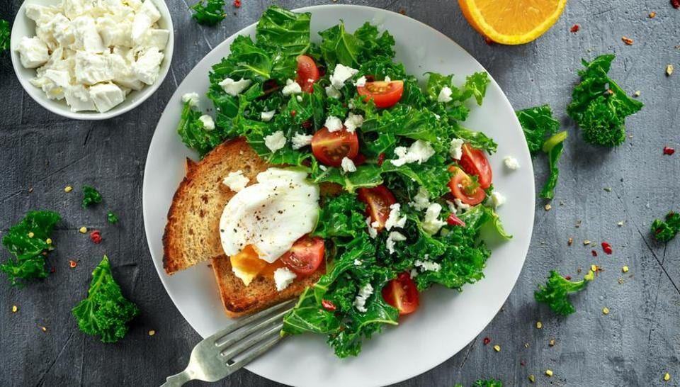 Kale with poached eggs; both contain the nutrient lutein which helps in cognitive function.