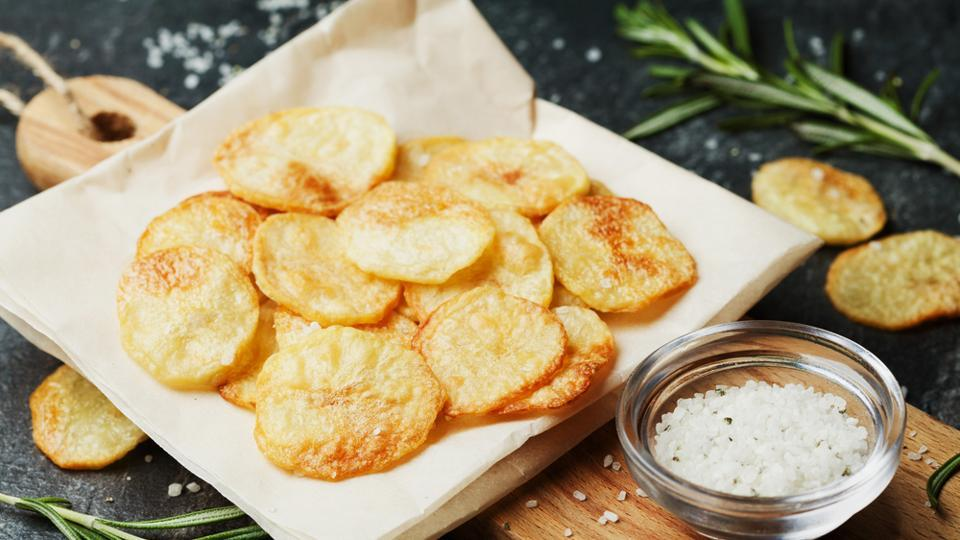 Baked potato chips are healthier than fried chips.