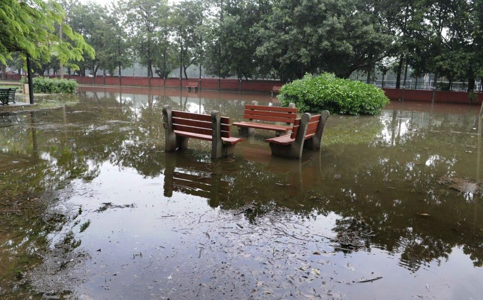 View of flooded park in sector 46 after heavy lashed the region on Thursday. (Keshav Singh/HT Photo)