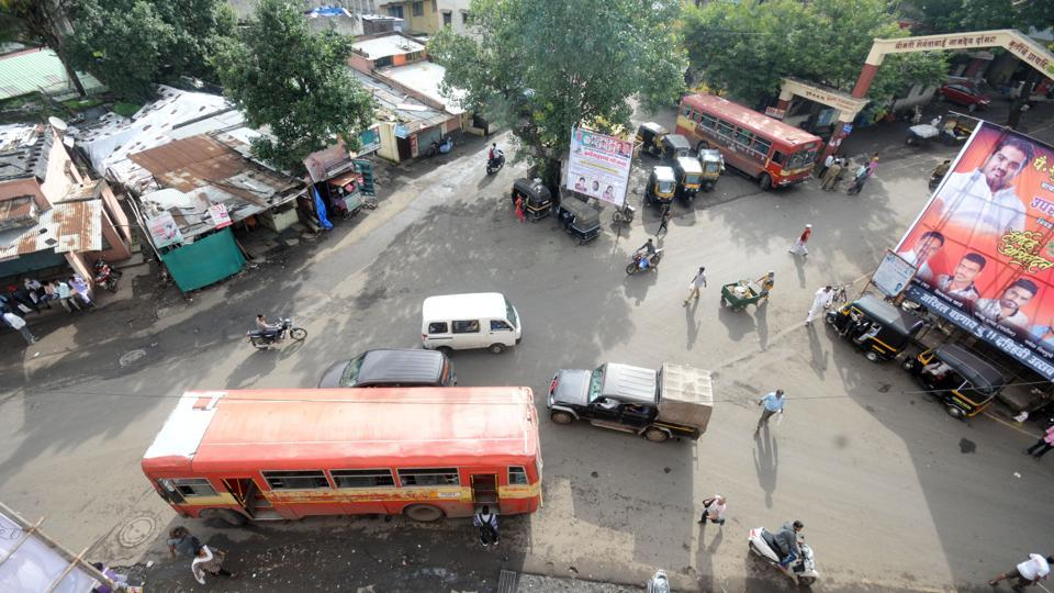 The accident spot near Vadgaon bus stop where Anuradha met with the fatal accident.