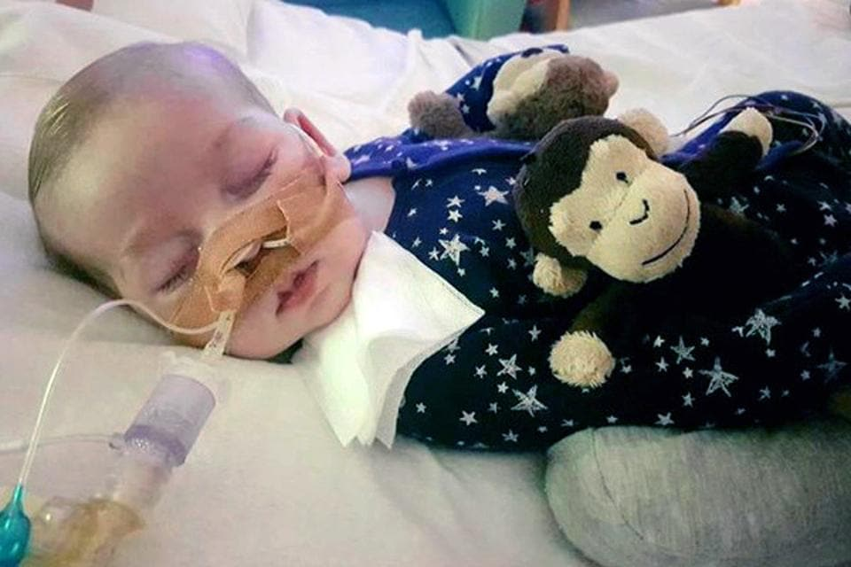 This is an undated photo of sick baby Charlie Gard provided by his family, taken at Great Ormond Street Hospital in London.