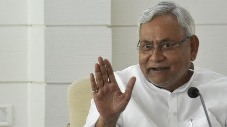 Bihar chief minister Nitish Kumar addressing a press conference in Patna.