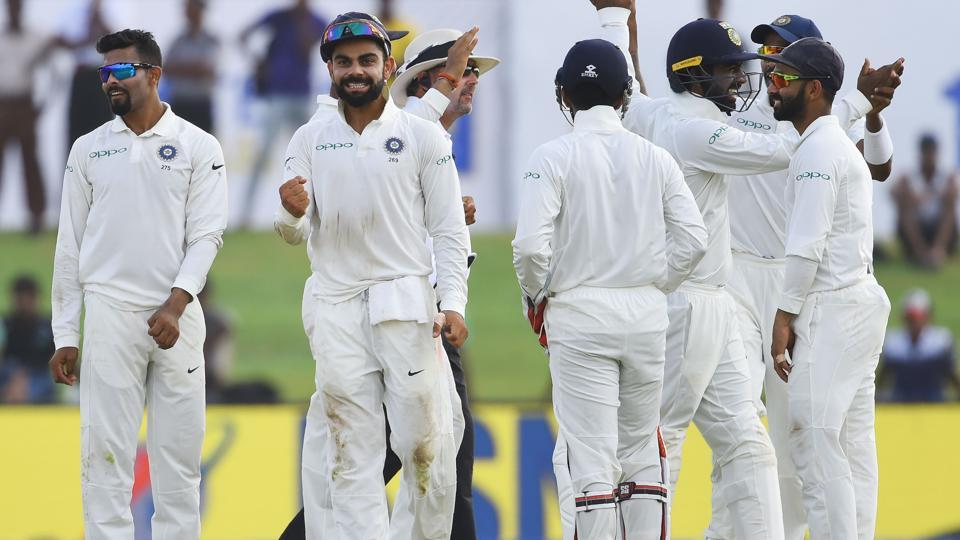 India ended Day 2 of the first Test against Sri Lanka in a dominating position, with the home side trailing 446 runs with five wickets in hand. (AFP)