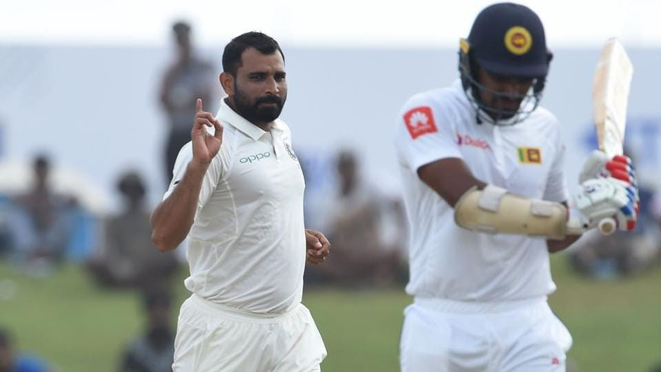 Mohammed Shami (L) then picked up two wickets in four deliveries to put a major dent in Sri Lanka's innings. (AFP)