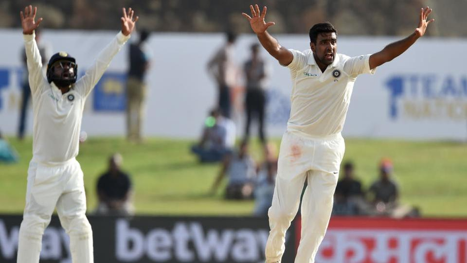 Indian spinner Ravichandran Ashwin (R) removed Niroshan Dickwella, who was the last wicket to fall on Thursday. (AFP)