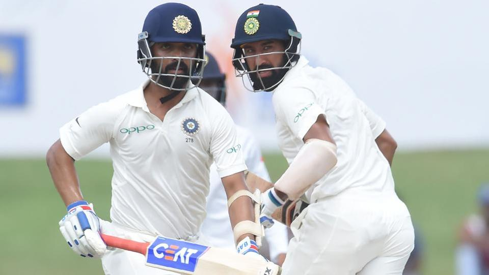 Ajinkya Rahane (L) and Cheteshwar Pujara resumed India's innings on Day 2 of the first Test against Sri Lanka at 399/3 at Galle on Thursday. (AFP)