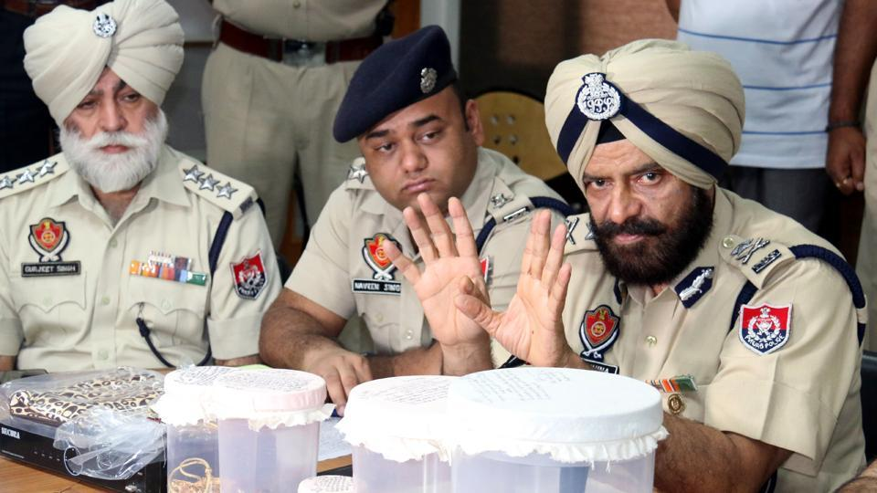 Bathinda Zone IGP MS Chinna (right) during a press conference on Tuesday .