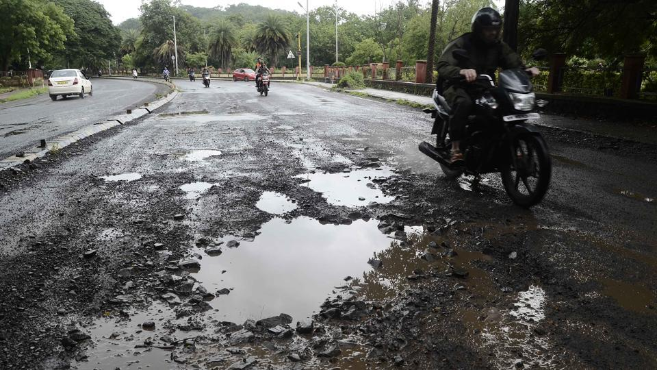 The pothole near CCE (R & D) on Pashan road is dangerous for commuters.