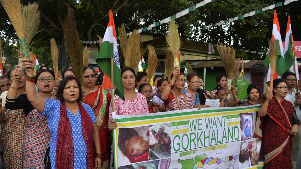 Supporters of the Gorkhaland movement chant slogans at Sukna village in Darjeeling district.