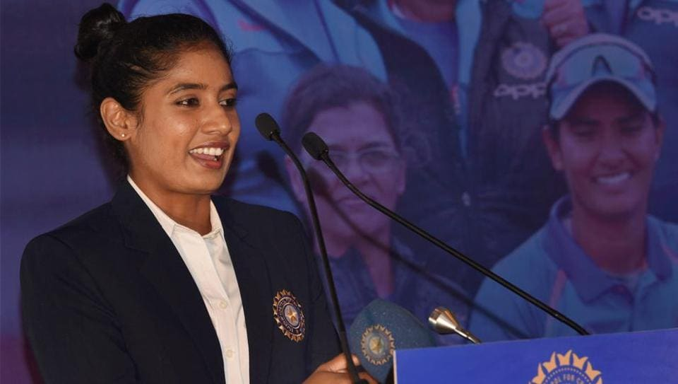 Indian women's cricket team captain Mithali Raj addresses the media at a felicitation event in New Delhi on Thursday.