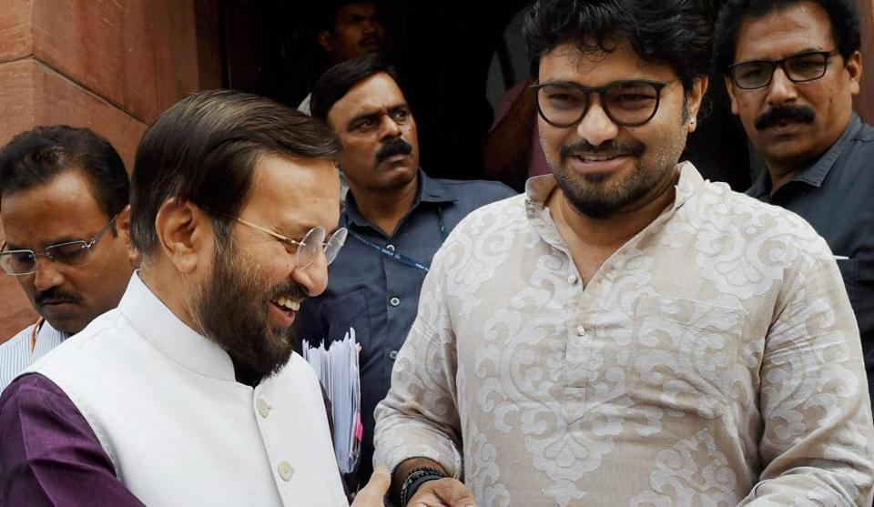 Union HRD Minister Prakash Javadekar with Union Minister of State for Heavy Industries and Public Enterprises Babul Supriyo during the ongoing monsoon session at Parliament, in New Delhi on Wednesday.