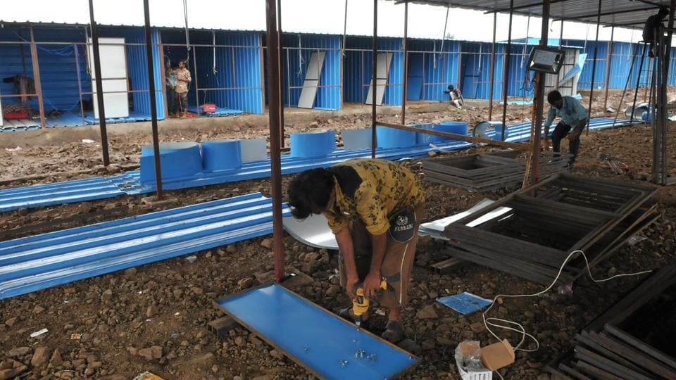 Temporary sheds for people who will be evicted from the banks of Narmada after July 31 being constructed near Nisarpur town in Dhar district of Madhya Pradesh.