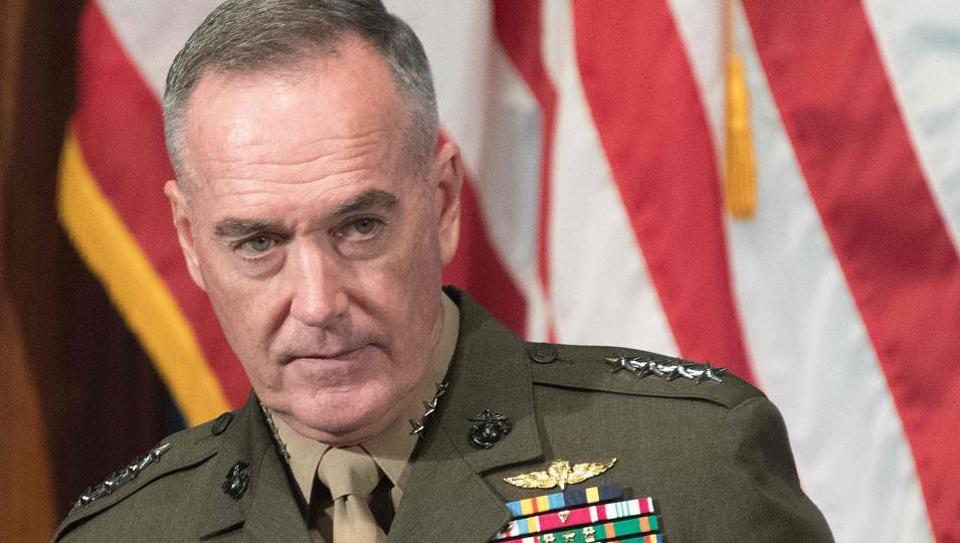 Joint Chiefs of Staff Chairman General Joseph Dunford arrives to speak at the Newsmaker Luncheon in Washington, DC, June 19, 2017.