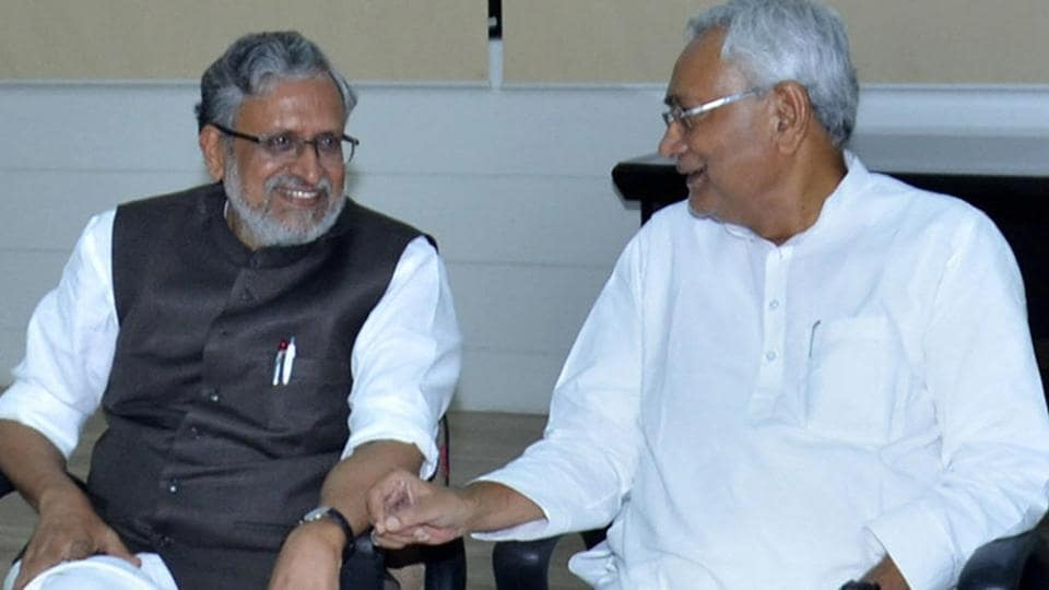 Bihar chief minister Nitish Kumar with senior BJPleader Sushil Kumar Modi at legislators' meeting in Patna on Wednesday. Sushil Kumar Modi is likely to take oath as the deputy chief minister as the JD(U)  is all set to form the next Bohar government with BJP support.