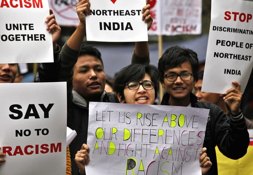 Northeast students participate in a protest demonstration condemning the killing of student Nido Taniam and rape of a minor girl from Manipur at Vijay Chowk, New Delhi.