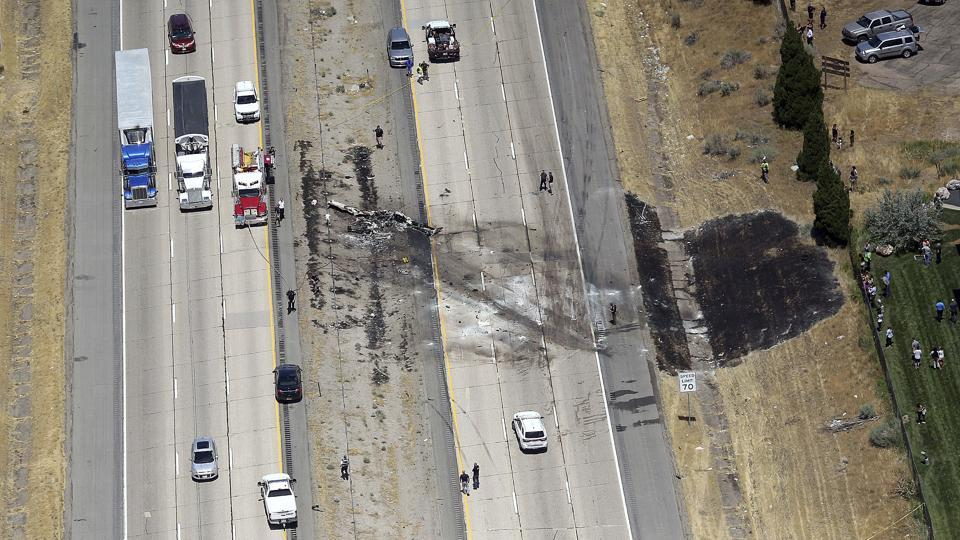 A small plane crashed after it took off from a nearby municipal airport on Interstate 15 in Riverdale, Utah, about 35 miles north of Salt Lake City, on July 26.