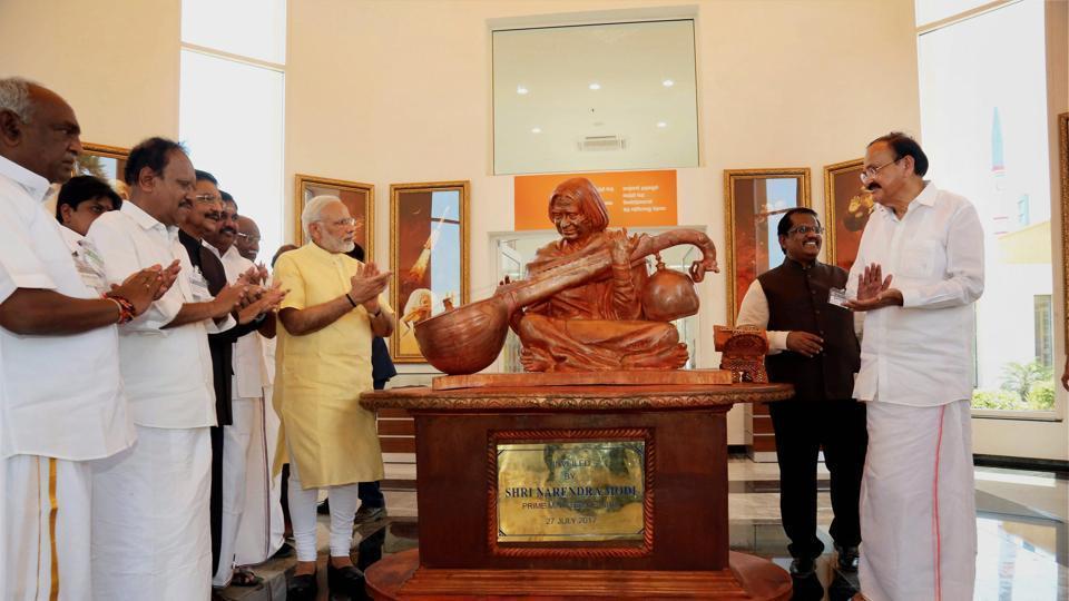 Prime Minister Narendra Modi unveiling the bust of late President A PJ Abdul Kalam during the inauguration of his memorial at Peikarumbu in Rameswaram, Tamil Nadu on Thursday.