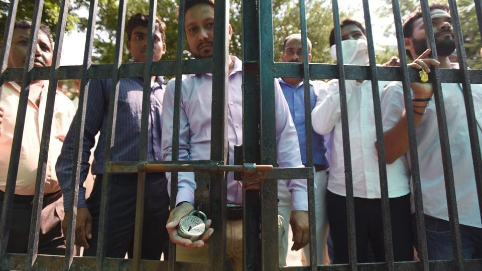 Contractual employees of the Noida authority on Wednesday locked the authority's offices in Sectors 5, 19, 20 and 39, demanding that they be employed directly and given benefits.